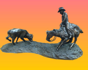 """""""Cow Town Cutter"""" Bronze by..."""