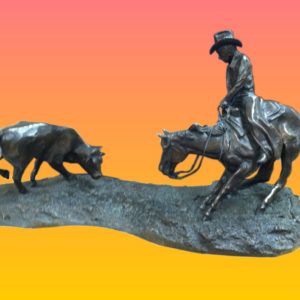 """Cow Town Cutter"" Bronze by Clarence R. Morrison"